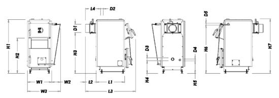 Габариты котла ECO 12 и 14 кВт