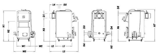 Габариты котла ECO+ на 12 и 14 кВт