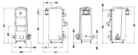 Габариты котла ECO+ 17 и 20 кВт