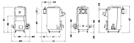 Габариты котла LUX на 12 и 14 кВт