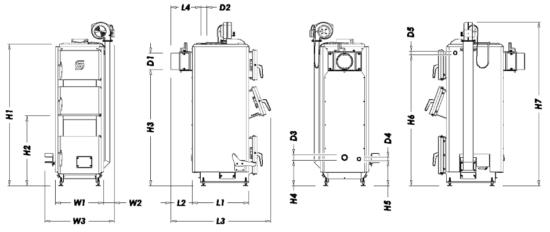 Габариты котлов LUX и LUX+ на 17 и 20 кВт