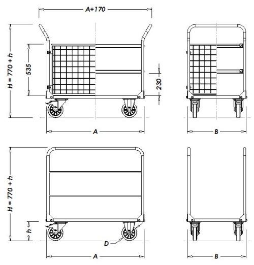 Параметры складских тележек