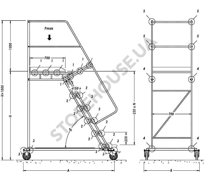 Лестница для склада передвижная