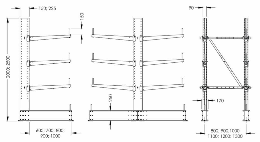 Размеры консольного стеллажа SHCRL-1