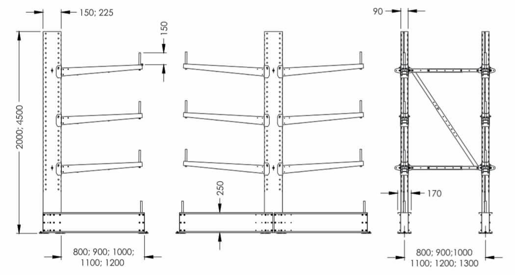 Размеры консольного стеллажа SHCRL-2