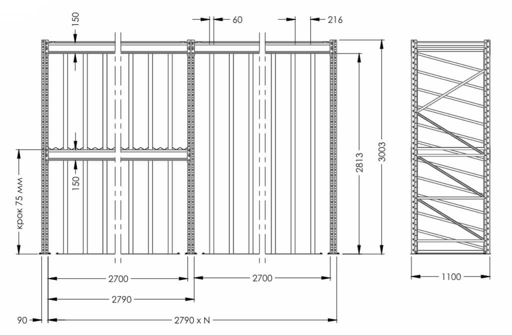 Размеры стеллажа SHPRM-2